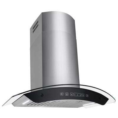 30 in. Convertible Kitchen Wall Mount Range Hood in Stainless Steel Tempered Glass with Touch Control