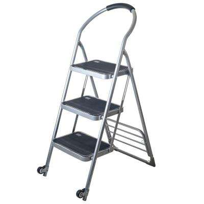 175 lbs. Step Ladder Dolly Folding Cart in Silver