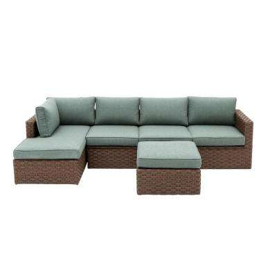 Hawthorn Estates 3-Piece Wicker Outdoor Patio Sectional Set with Light Blue Cushions