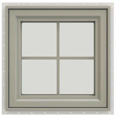 23.5 in. x 23.5 in. V-4500 Series Right-Hand Casement Vinyl Window with Grids - Tan