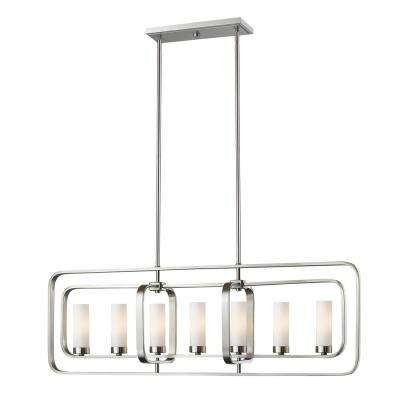 Austin 7-Light Brushed Nickel Hanging Pendant with Matte Opal Glass Shade