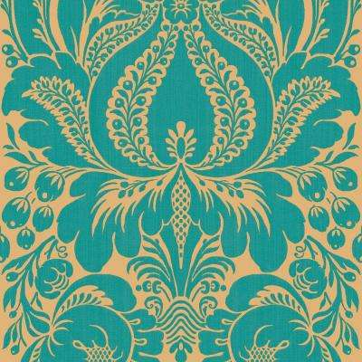 8 in. x 10 in. Peacock Large Scale Damask Wallpaper Sample