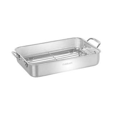 Chef's Classic 14 in. Lasagna Pan with Stainless Roasting Rack in Stainless