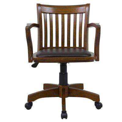Oxford Office Arm Chair in Chestnut with Vinyl Seat Cushion in Espresso