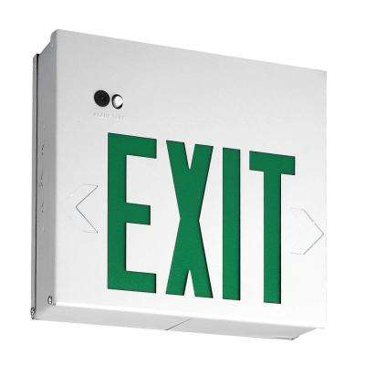 Single Face Extra Faceplate Conversion to Double Face LED Titan White Nickel-Cadmium Battery Emergency Exit Sign Green