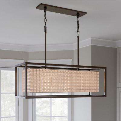 Shimmer Collection 4-Light Graphite Island Chandelier with Clear Crystal Shade