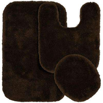 Finest Luxury Chocolate 21 in. x 34 in. Washable Bathroom 3-Piece Rug Set