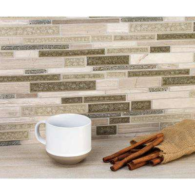 Olive Branch Wooden Beige 11-3/4 in. x 11-3/4 in. x 10 mm Glass and Stone Mosaic Tile