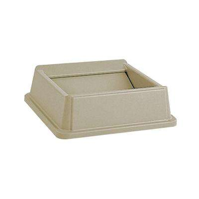 Untouchable 35 and 50 Gal. Beige Square Trash Can Swing Top Lid