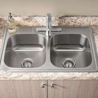 Colony Pro ADA Drop-in Stainless Steel 33 in. Double Bowl All-In-One Kitchen Sink with Faucet in Stainless Steel