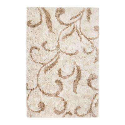 Kensington Shag Ivory and Tan 9 ft. x 12 ft. Area Rug