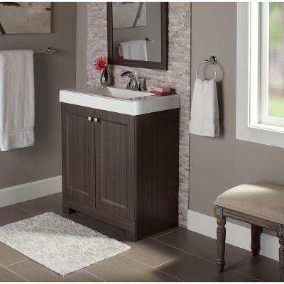 Shaila 30.5 in. W Bath Vanity in Silverleaf with Cultured Marble Vanity Top in White with White Sink