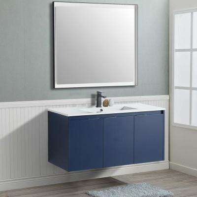 18 in. W x 19 in. D x 39 in. H Navy Blue Wall-Mounted Single Bathroom Vanity with Vanity Top in White with White Basin