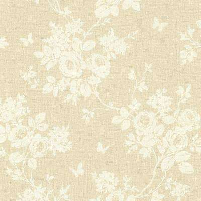 56.4 sq. ft. Gia Taupe Floral Wallpaper