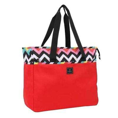 18 in. Chevron Weekender Tote in Red/Les Plages