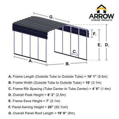 10 ft. W x 20 ft. D Charcoal Galvanized Steel Carport, Car Canopy and Shelter