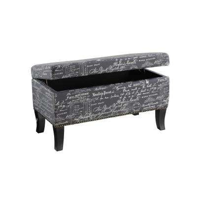 Stephanie Wood Ottoman in Grey Linen with Script and Black