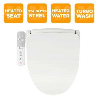 Slim Series Electric Smart Bidet Toilet Seat for Elongated Toilets in White with Side-Panel Control and Nightlight