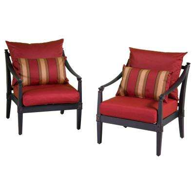 Astoria Patio Club Chair with Cantina Red Cushions (2-Pack)