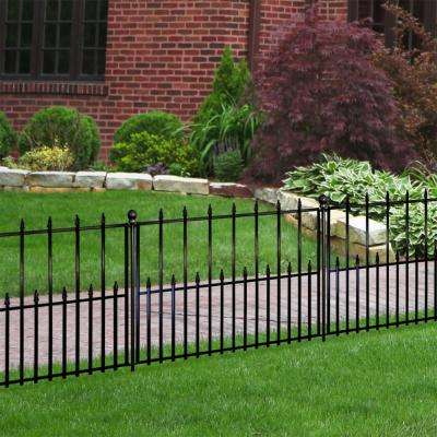Empire 30 in. x 36 in. Black Steel 3-Rail Fence Panel