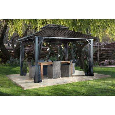 12 ft. D x 16 ft. W Genova II Double-Roof Aluminum Gazebo with Galvanized Steel Roof Panels and Mosquito Netting