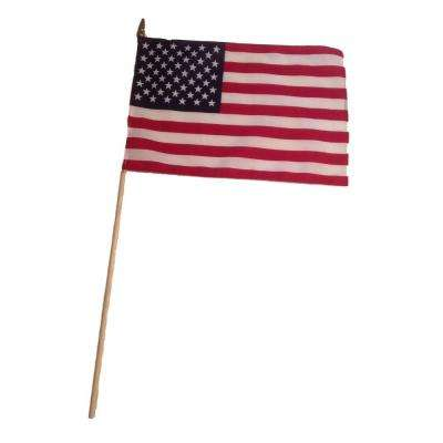12 in. x 18 in. American Flag with 3/8 in. Dowel Rod