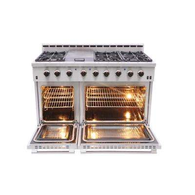 Entree Bundle 48 in. Gas Cooktop with 6-Burner in Stainless Steel