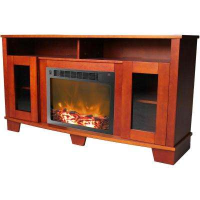 Savona 59 in. Cherry Electric Fireplace Mantel with Insert