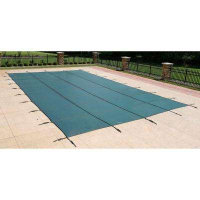 Rectangular Green In Ground Pool Safety Cover