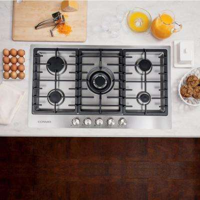 34 in. Gas Cooktop in Stainless Steel with 5 Italian Made Burners