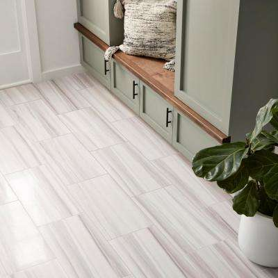QuicTile 12 in. x 24 in. Horizon Marble Lappato Color Body Porcelain Locking Floor Tile (9.6 sq. ft. / case)