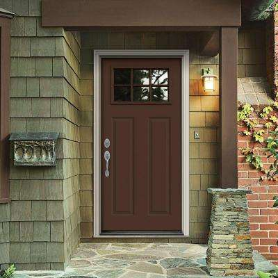 30 in. x 80 in. 6 Lite Craftsman Dark Chocolate Painted Steel Prehung Right-Hand Inswing Front Door w/Brickmould