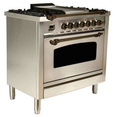 36 in. 3.55 cu.ft. Single Oven Italian Gas Range True Convection, 5 Burners, Griddle, Bronze Trim in Stainless Steel