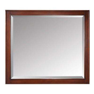Madison 36 in. x 32 in. Beveled Edge Mirror in Tobacco