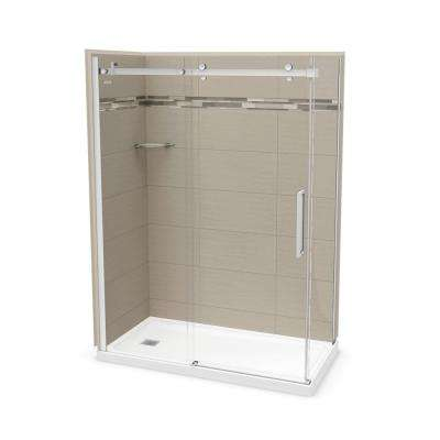 32 in. x 60 in. x 83.5 in. Direct-to-Stud Left Corner Shower Kit in Origin Greige with Chrome Door