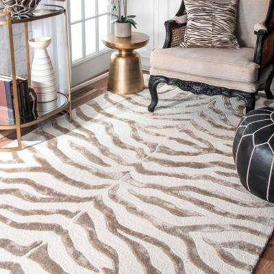 Zebra Stripes Gray 6 ft. x 9 ft.  Area Rug