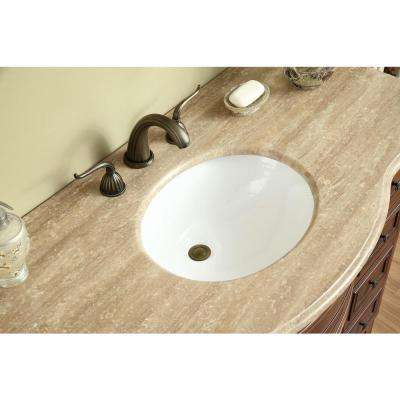 Yorktown 48 in. Vanity in Dark Cherry with Marble Vanity Top in Travertine with White Undermount Sink