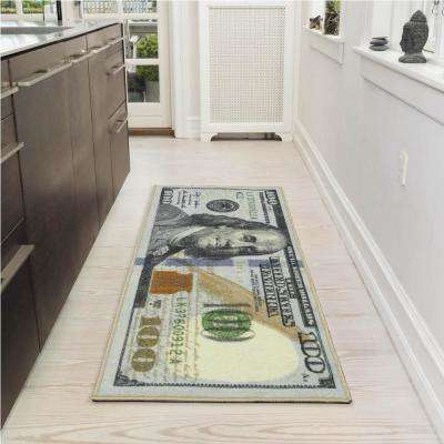 Siesta Kitchen Collection 100 Dollar Bill Design Multi 2 ft. x 4 ft. Runner Rug