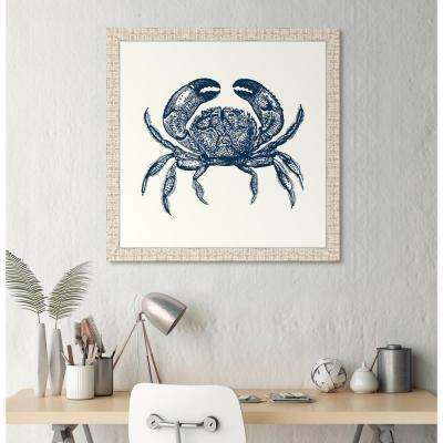"31 in. x 31 in. ""Crab in Blue"" Framed Giclee Print Wall Art"