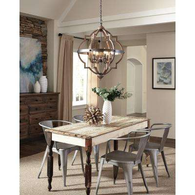 Socorro 25 in. W. 6-Light Weathered Gray and Distressed Oak Hall-Foyer Pendant