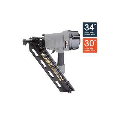 Pneumatic 34 Degree Clipped-Head Strip Framing Nailer