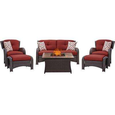 Strathmere 6-Piece Woven Patio Seating Set with Tile-Top Fire Pit and Crimson Red Cushions