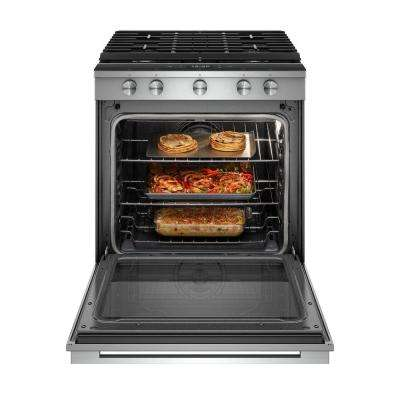 5.8 cu. ft. Smart Contemporary Handle Slide-in Gas Range with EZ-2-LIFT Hinged Cast-iron Grates in Stainless Steel