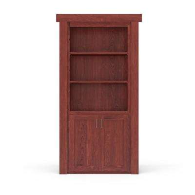 32 in. x 80 in. Flush Mount Assembled Laundry Door Maple Cherry Stained Right-Hand Outswing