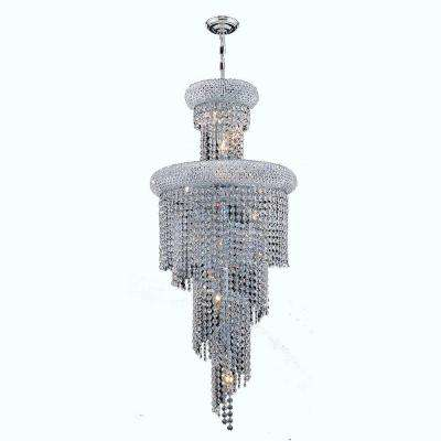 Empire Collection 10-Light Chrome Chandelier with Clear Crystal Shade