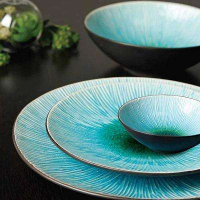 ShangriLa Court 16-Piece Asian Inspired Blue Earthenware Dinnerware Set (Service for 4)