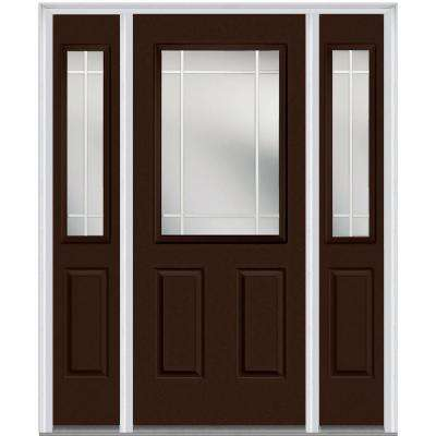 68.5 in. x 81.75 in. Classic Clear Glass PIM 1/2 Lite Painted Majestic Steel Exterior Door with Sidelites