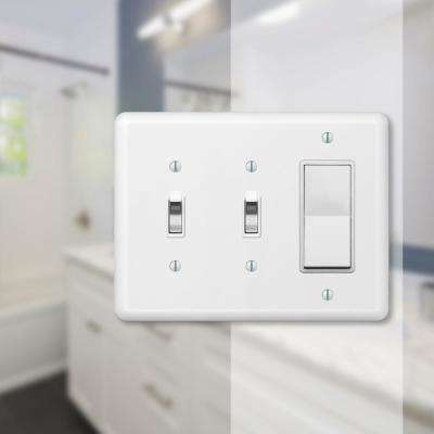 Declan 3 Gang 2-Toggle and 1-Rocker Steel Wall Plate - White