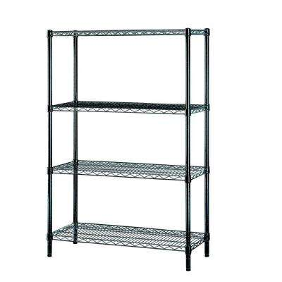 36 in. W x 54 in H x 14 in. D Multi-Purpose 4-Tier Wire Shelving, Black