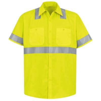 Class 2 Level 2 Men's Fluorescent Yellow/Green Hi-Visibility Work Shirt